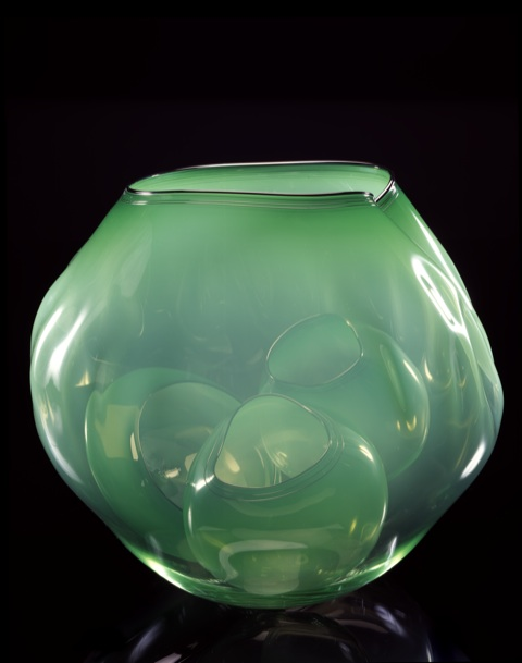 Dale Chihuly, Colonial Green Basket Set with Lamp Black Lip Wraps, 2000, 36 x 39 x 36 cm