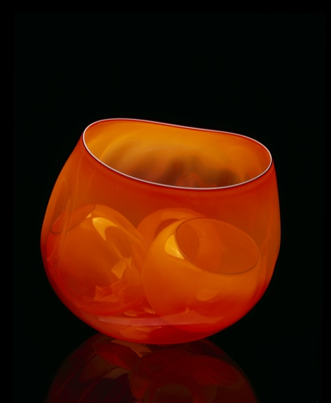 Dale Chihuly, Squash Orange Basket Set with Black Lip Wraps, 2001, 23 x 23 x 23 cm