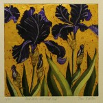 Jean Bardon, Dark Irises with Gold Leaf, etching & aquatint with gold leaf, paper: 49.5 x 46cm