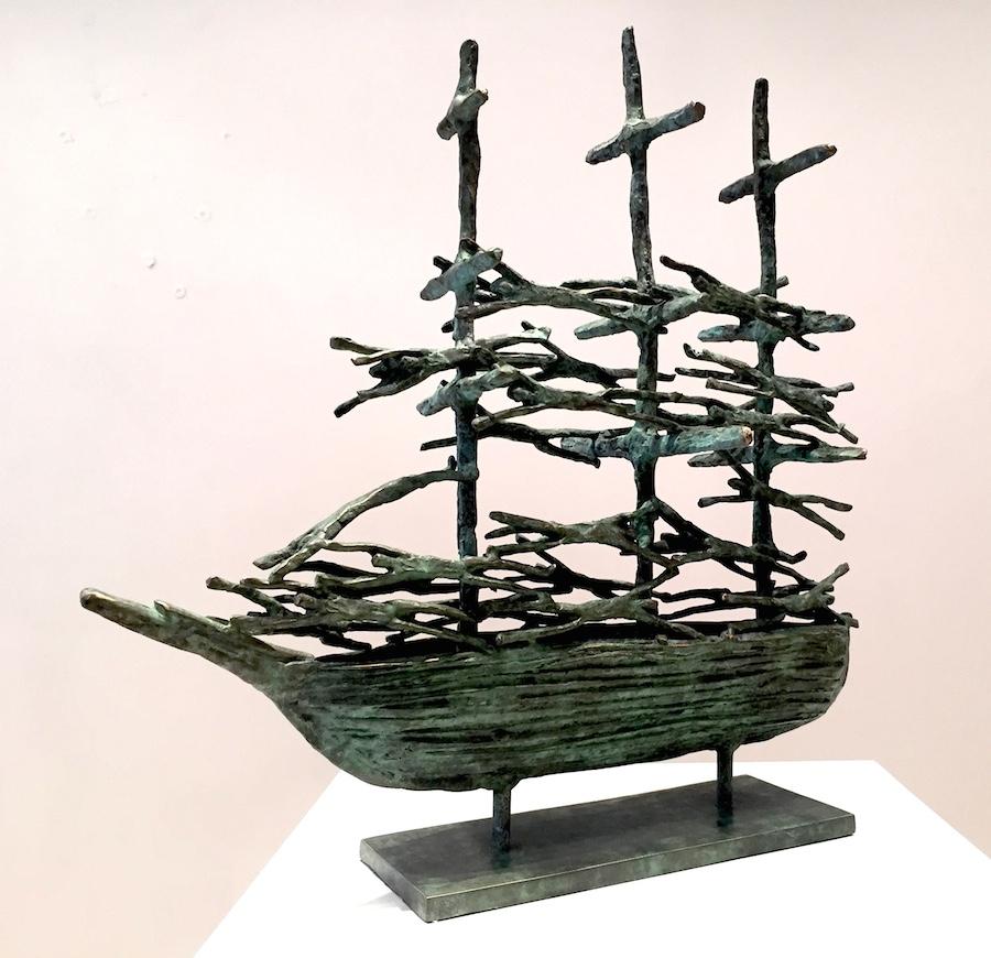 John Behan, Anniversary Famine Ship, bronze, edition of 25, 48 x 46 x 22cm