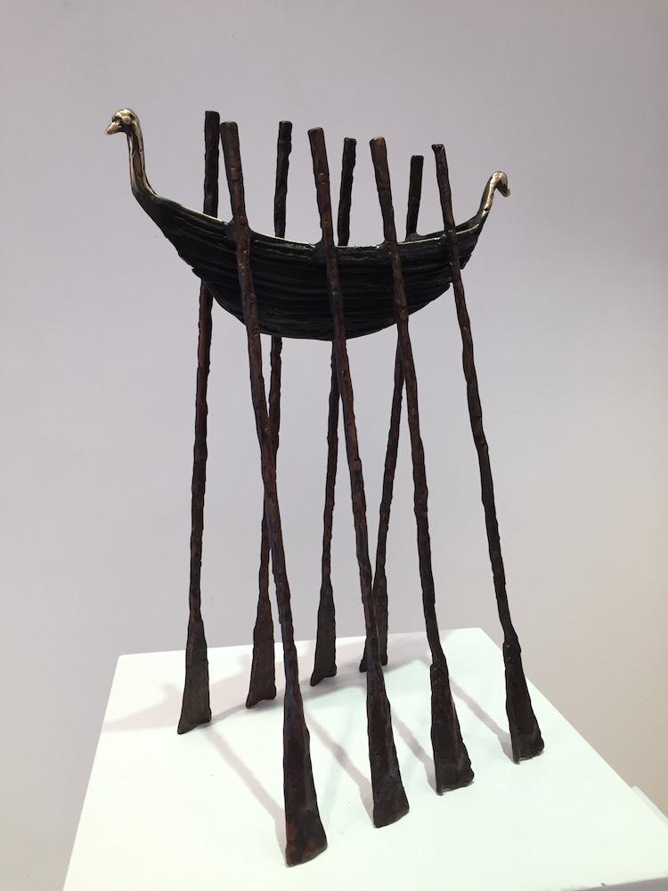 John Behan, Swan Neck Oar Boat, bronze, edition of 9, 50x37x21, 2017