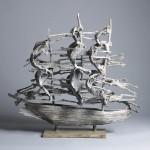 John Behan, West Famine Ship, bronze, unique, 69 x77 x37cm