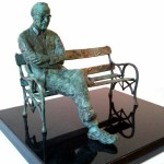 """John Coll, Maquette for Paddy Kavanagh, bronze, edition of 9, 8"""" x 14"""" x 12"""""""