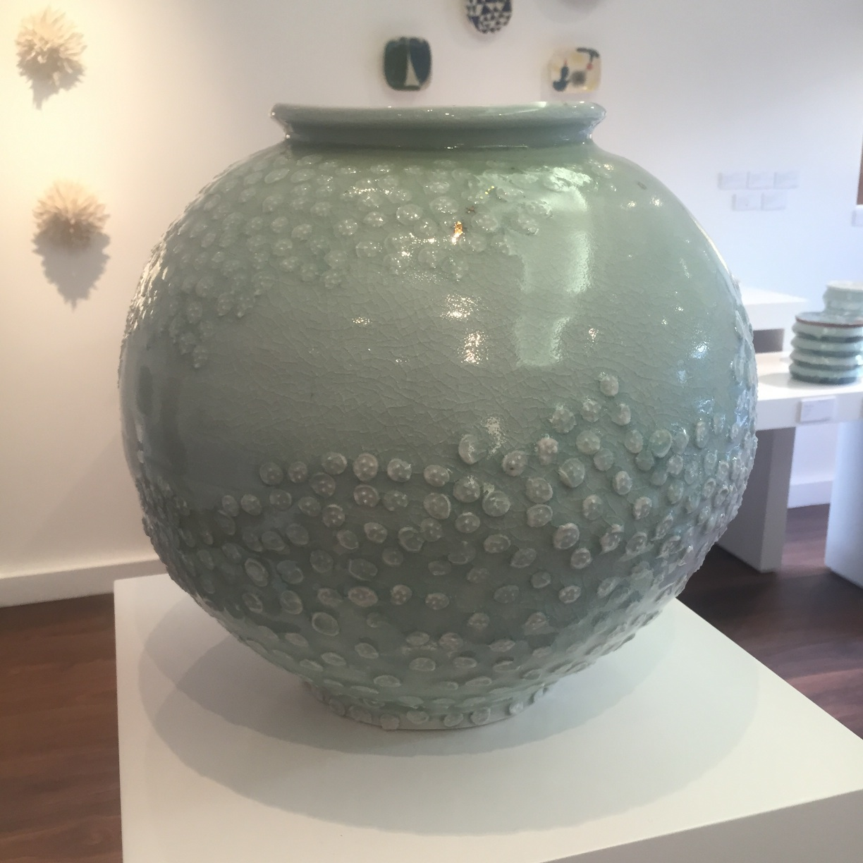 Adam Frew, Pot with Sprigged Pattern & Gold, porcelain, 58cmx45cm EUR680 SOLD