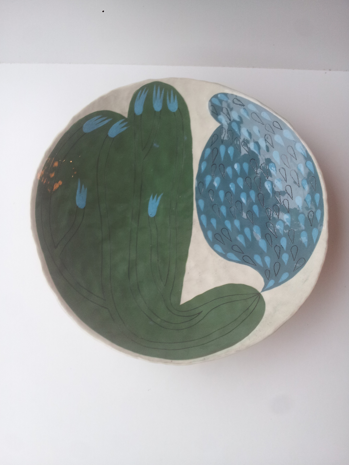 Andrew Ludick, Abstract Plant Bowl green and blue, glazed ceramic, 25cm, EUR 270 SOLD
