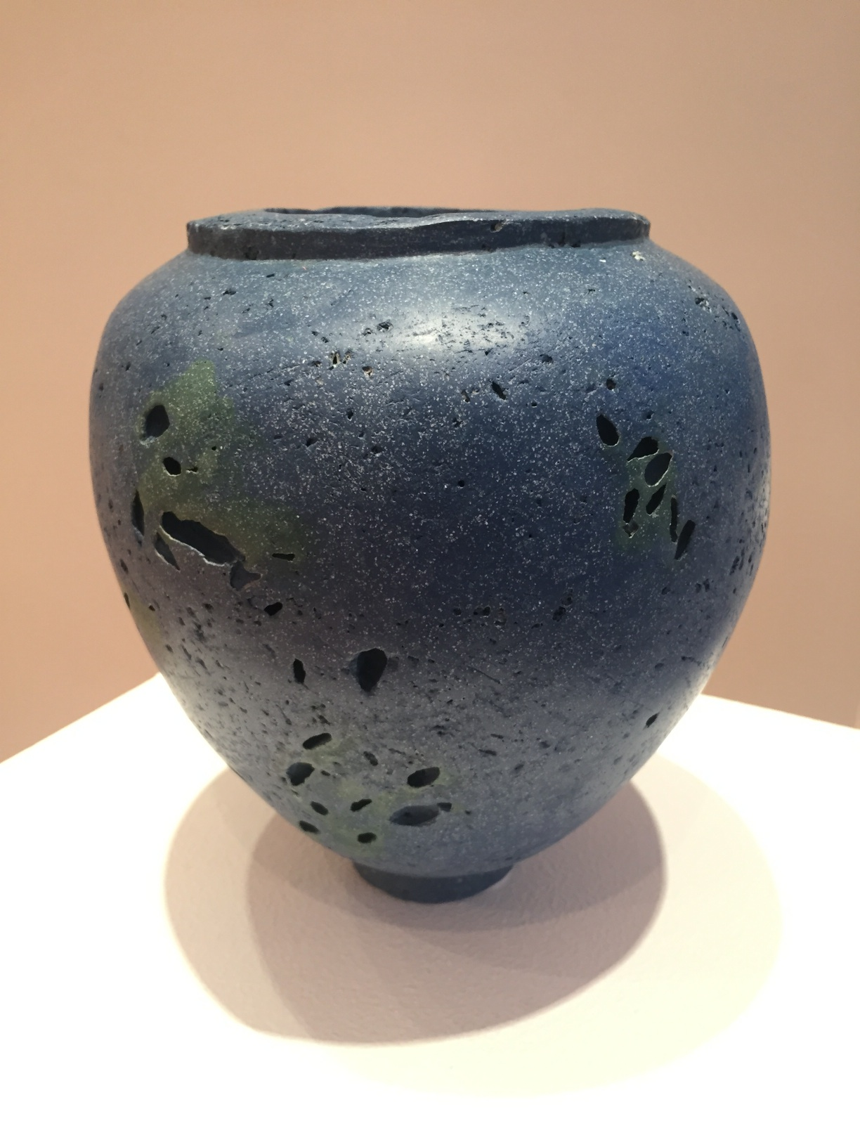 Kathleen Standen, Blue and Green Vessel, porcelain clay, organic additions, 19x15cm