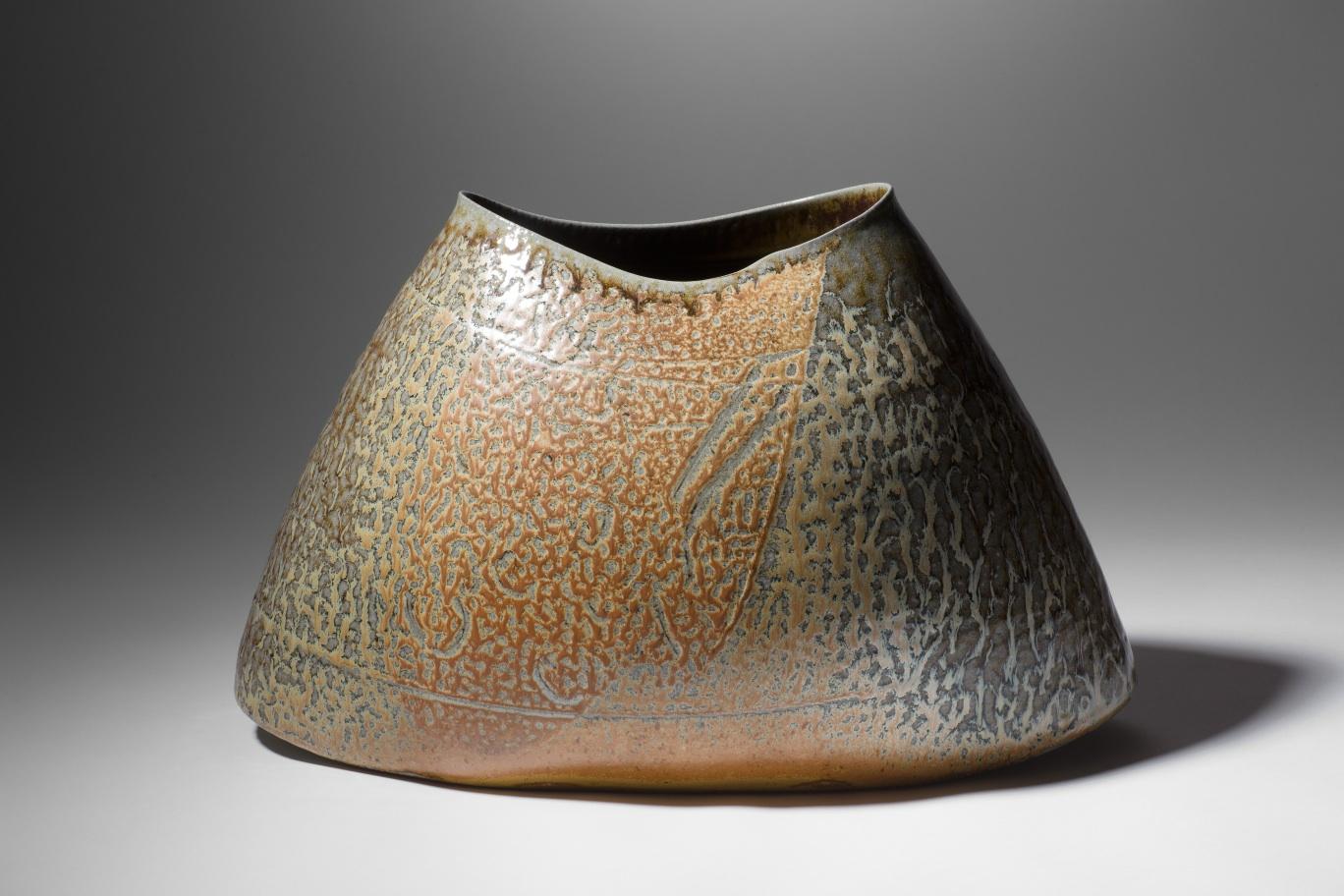 Mandy Parslow, MP02 Elliptical Vessel, wood fired salt glazed stoneware, 27 x 43 x 22cm, EUR 1000