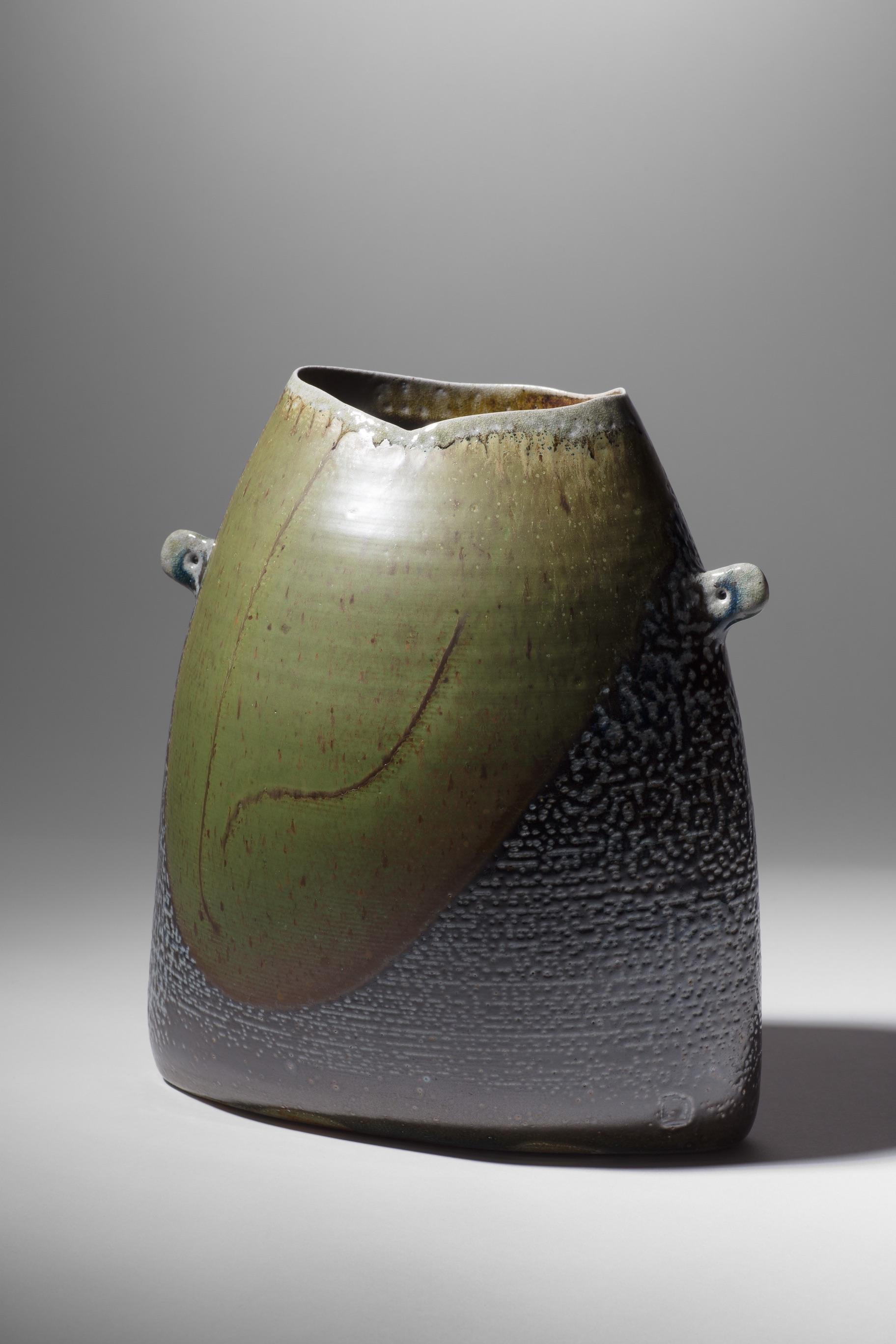 Mandy Parslow, MP10 Handled Elliptical Vessel, wood fired salt glazed stoneware, 26 x 25 x 14cm, EUR 560