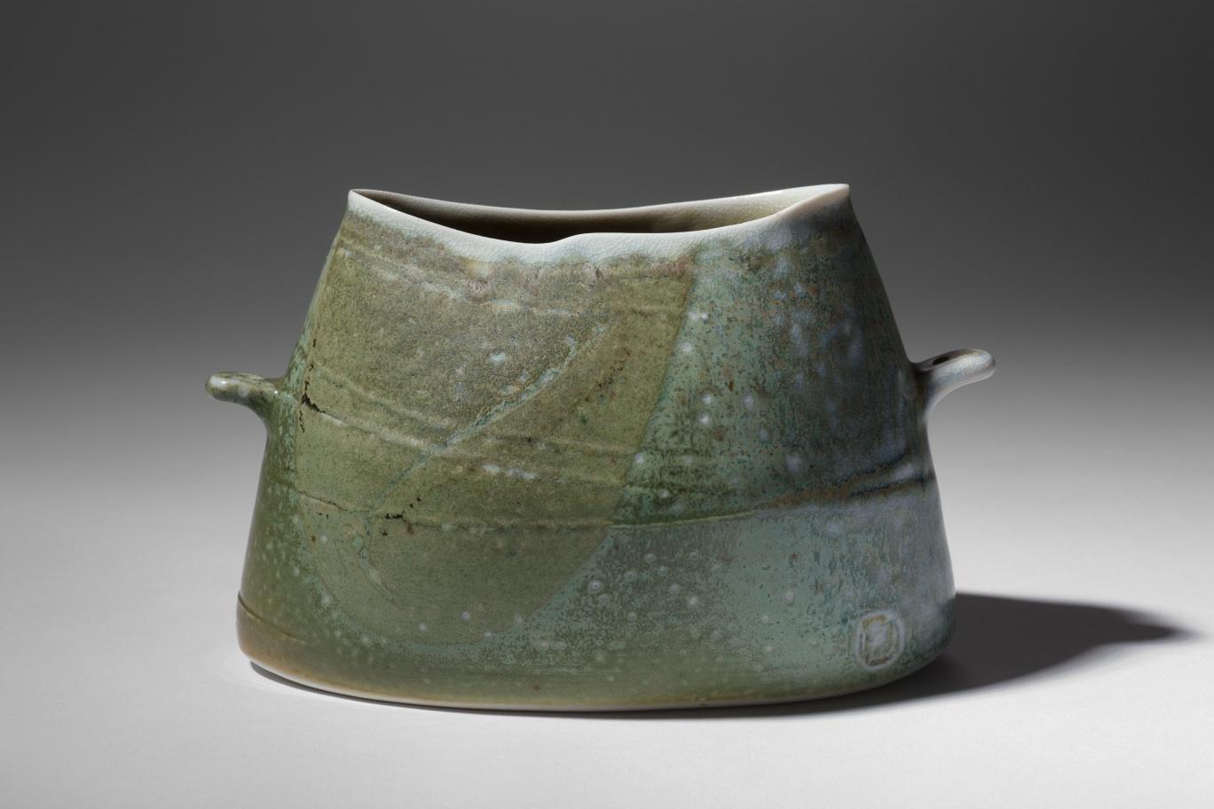 Mandy Parslow, MP11 Handled Elliptical Vessel, wood fired salt glazed stoneware, 11 x 18 x 9cm, EUR 170