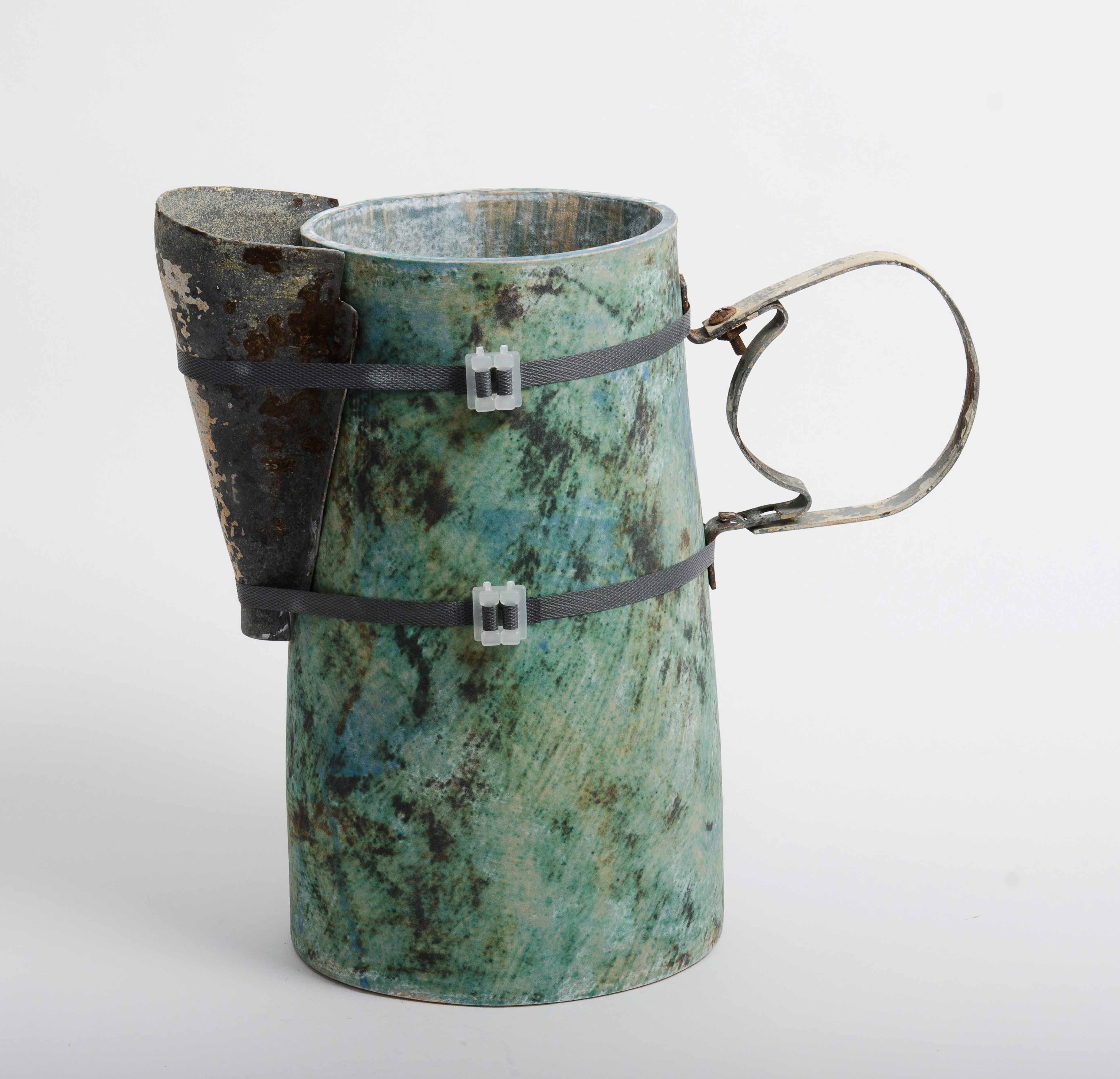 Mike Byrne, Allogamy, fired clay, metal, wood, 2014, 40 x 40 x 16cm, EUR 500