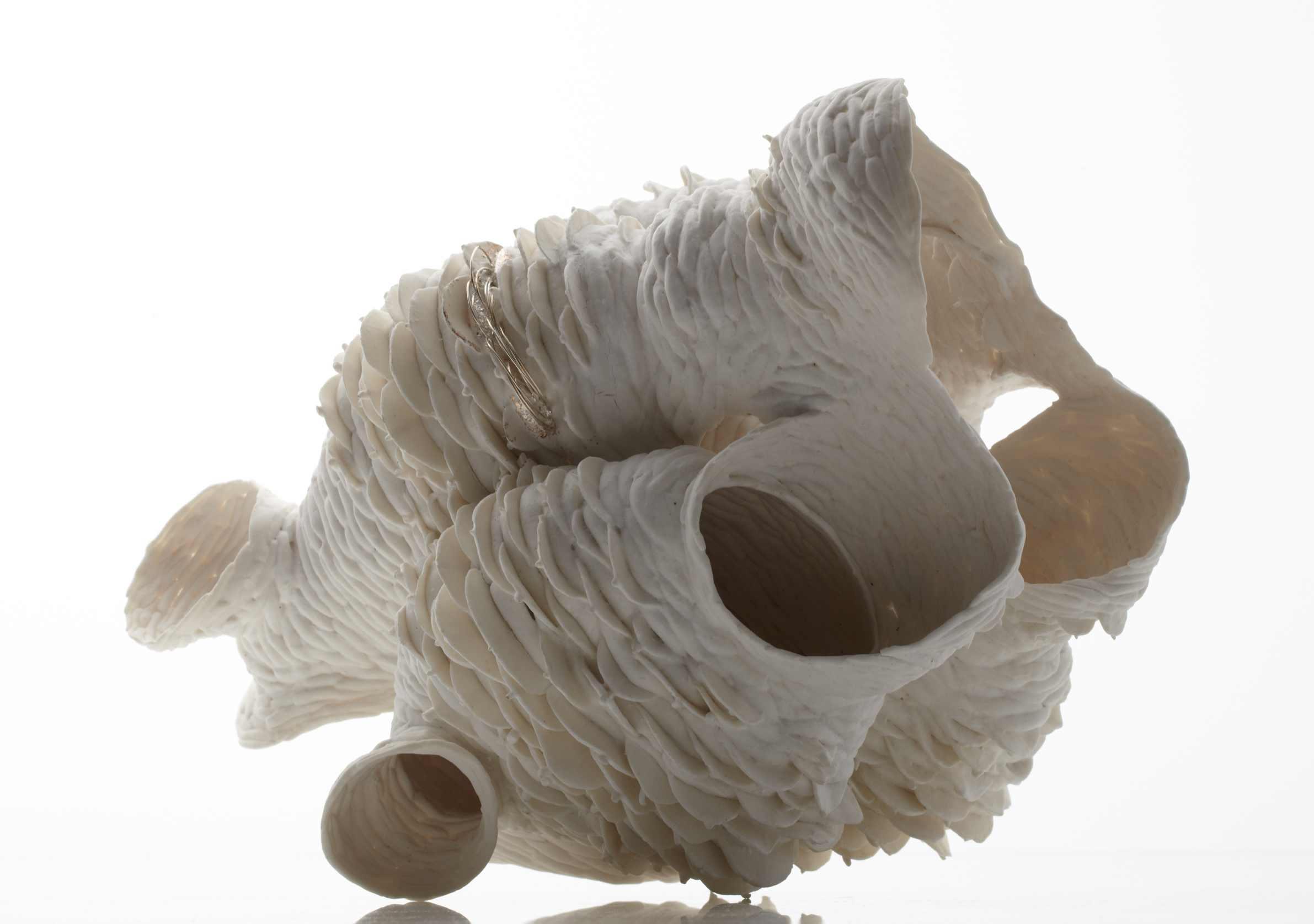 Nuala O'Donovan, Pinecone, Heart high fired unglazed porcelain, 35 x 30 x 28cm