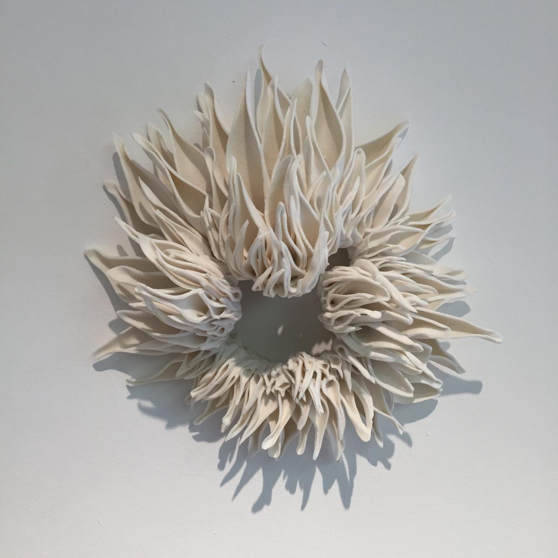 Nuala O'Donovan, Teasel wallpiece I, high fired unglazed porcelain, 13 x 18 x 10, EUR900