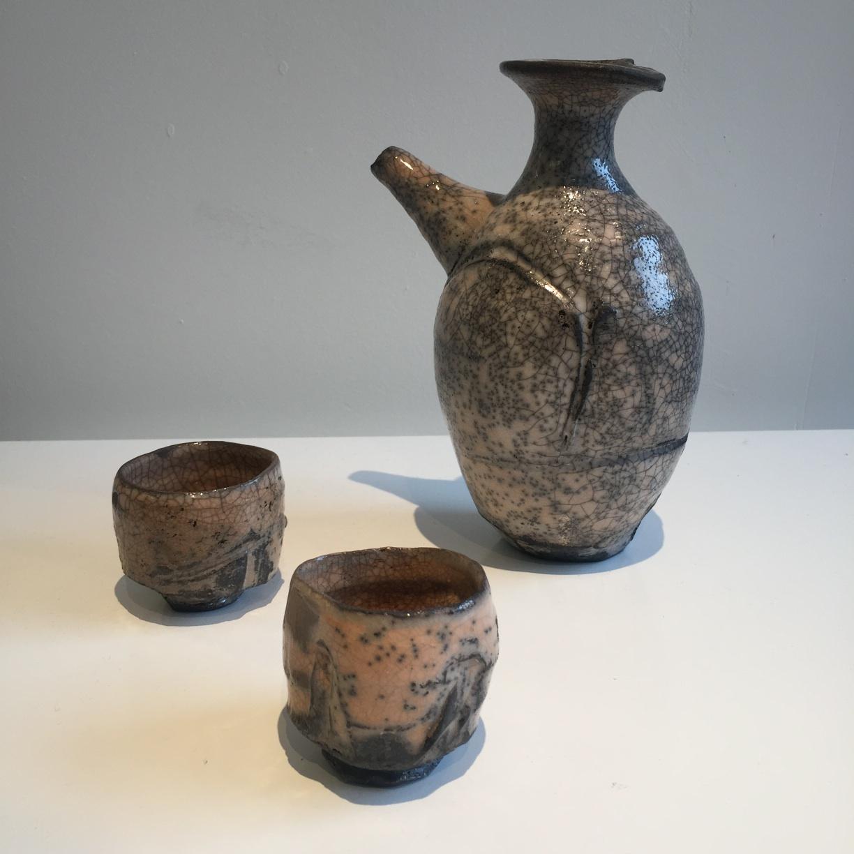 Peter Fulop, Japanese style sake set (2 x cups and bottle), raku fired ceramic, EUR215