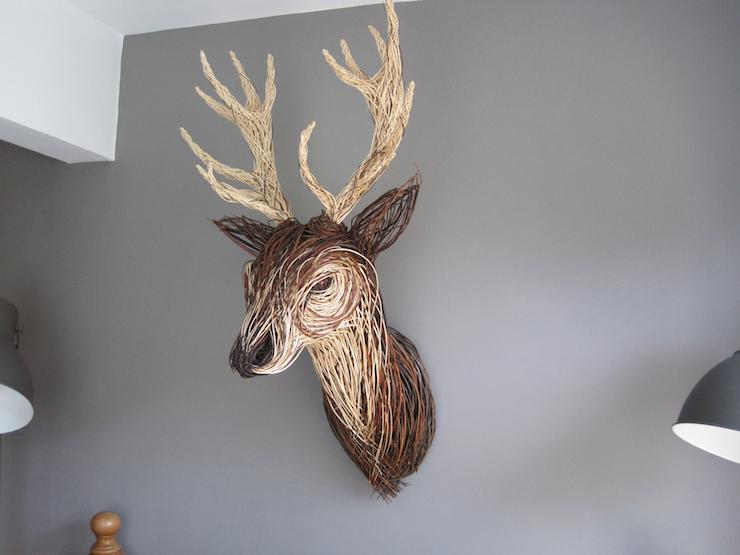 Bob Johnston, Stag Trophy Head, willow, unique (h) 127cm