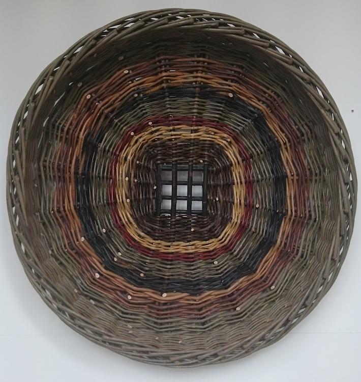 Joe Hogan, Skib with Grid Base, willow rods (various species), 35cm diameter, (large)