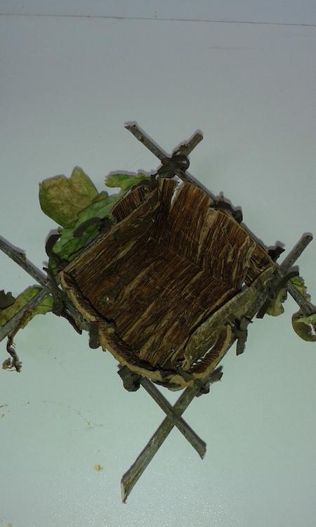 Kathleen McCormick, Oak Bark Box, oak twig surround & pigskin stitching, 7 x 8cm L x W, length of rods 15cm