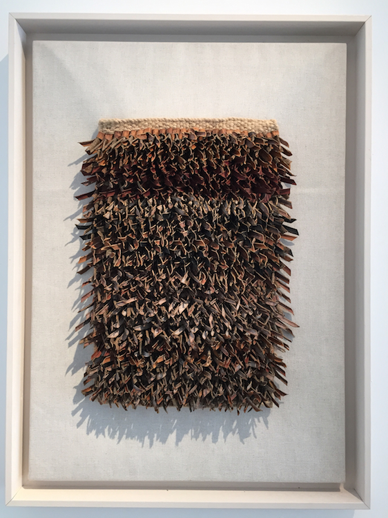 Kathleen McCormick, Tapestry, linen warp weave & willow bark strips, Rhea knot tied, 76cm x 55cm, WITH FRAME