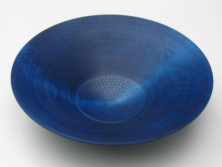 Roger Bennett, Indigo Bowl #1, coloured sycamore bowl (indigo), central well inlaid with silver dots in a controlled random pattern, 29 (d) x 7 (h)cm