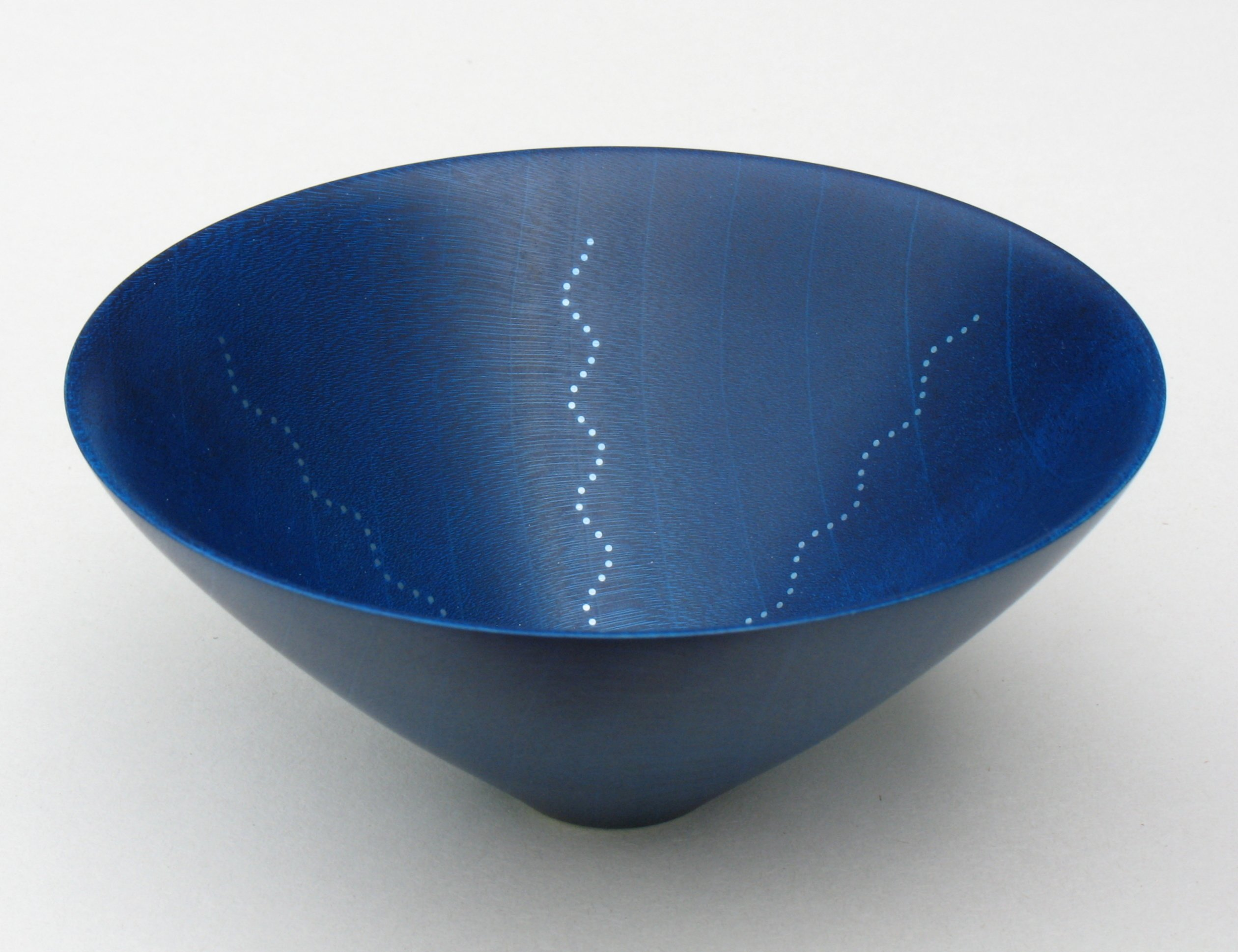 Roger Bennett, Blue Bowl, coloured sycamore bowl, (blue) inlaid with 6 undulating lines of silver dots, 12 (d) x 12 (h)cm