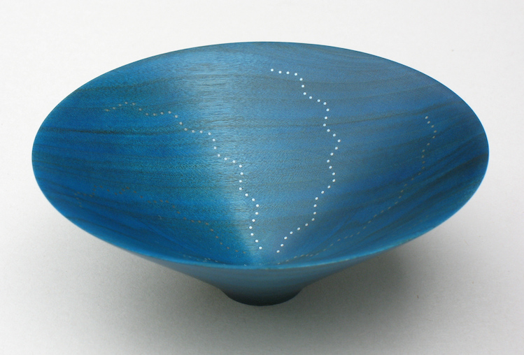 Roger Bennett, Green Bowl, coloured cherry bowl (green), inlaid with 6 undulating lines of silver dots, 10 (d) x 3.5 (h) cm