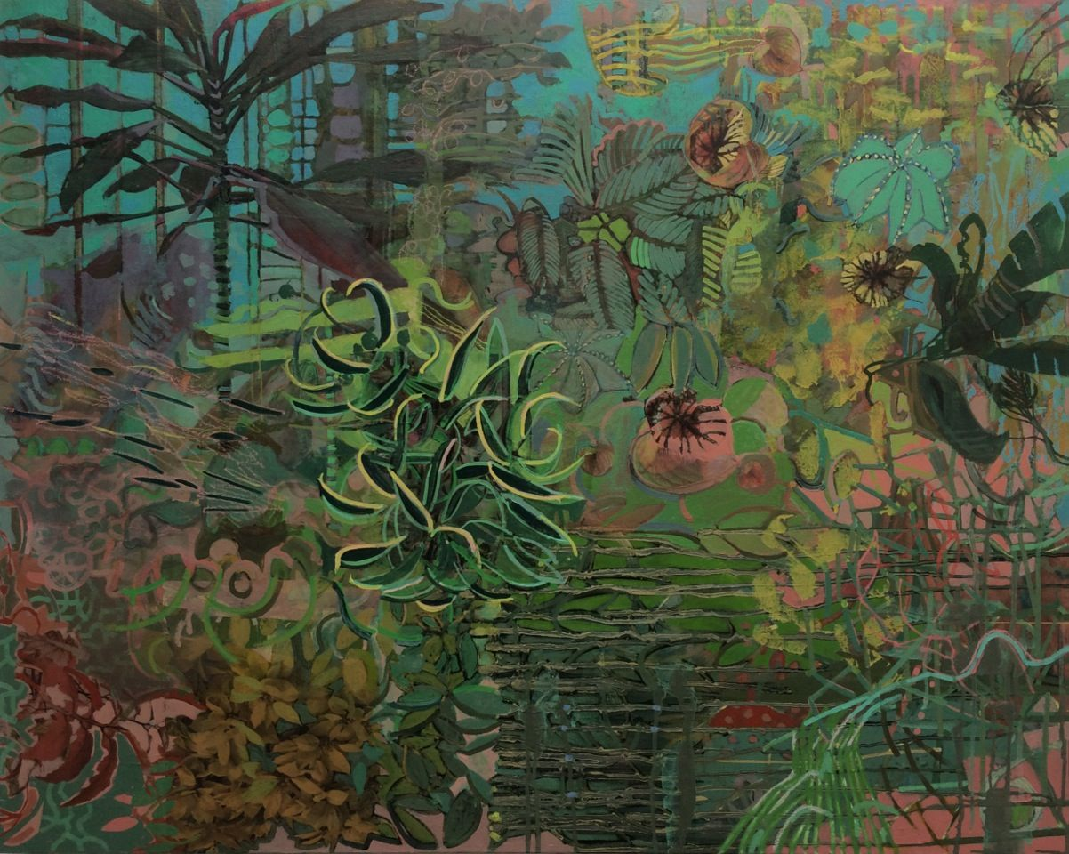Frances Ryan, Oasis 1, oil and collage on canvas, 80 x 100 cm