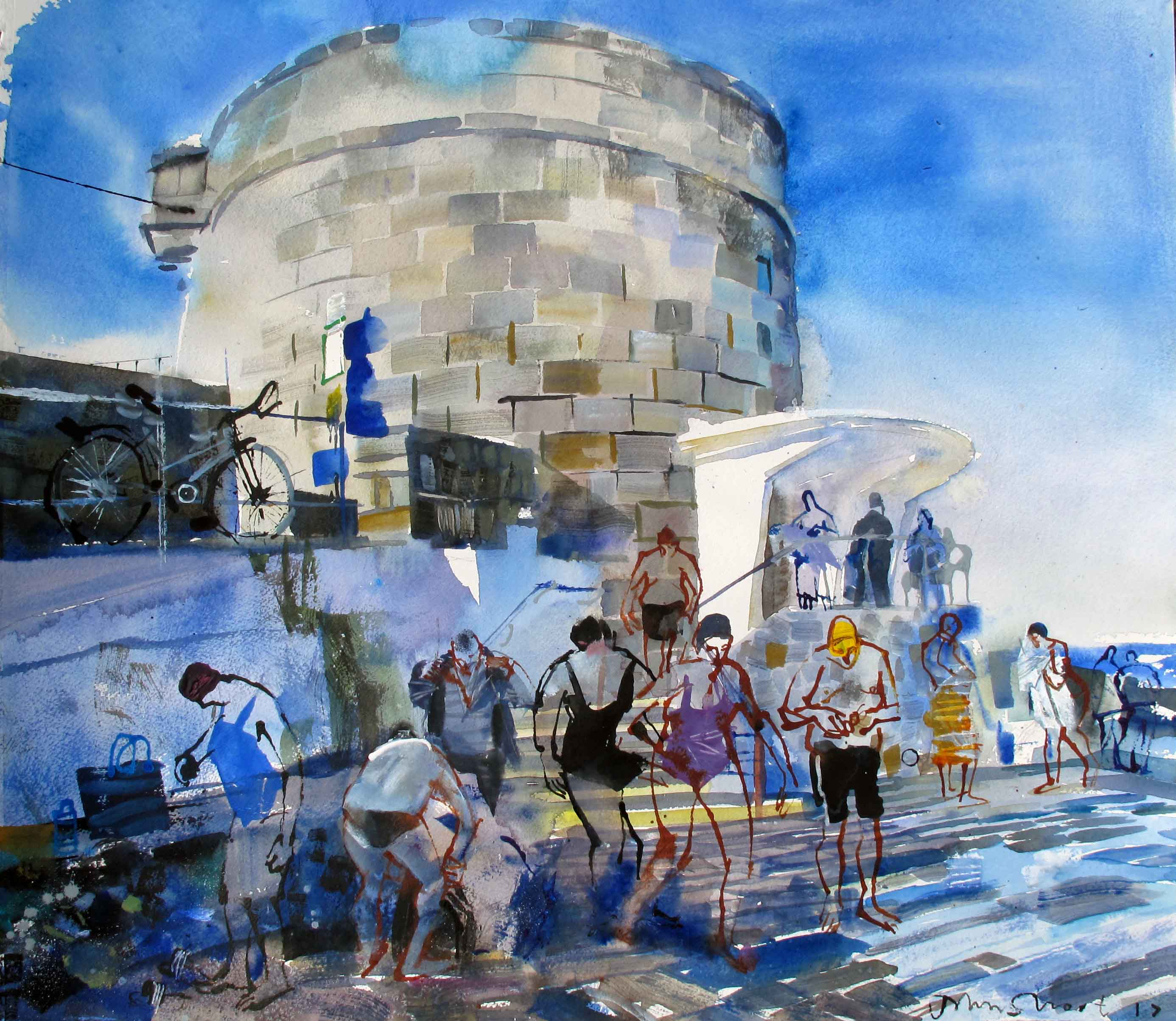 John Short, Winter Bathers, Seapoint, Co.Dublin, watercolour & ink, 41 x 66 cm