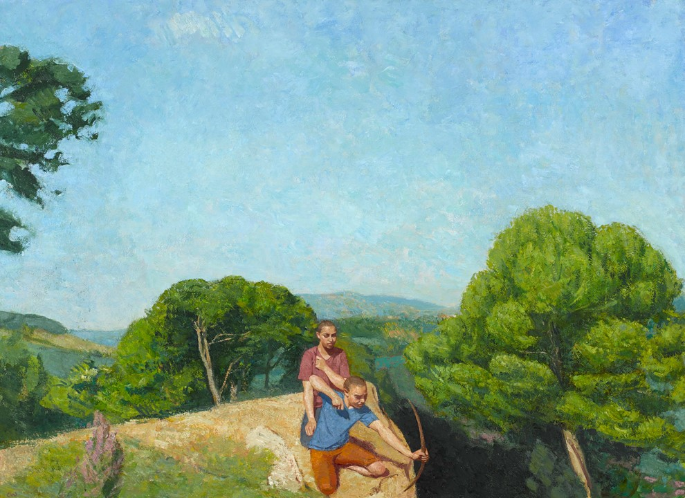Colin Watson ARUA, Boys Playing on a Cliff Top, oil on canvas, 102 x 140cm