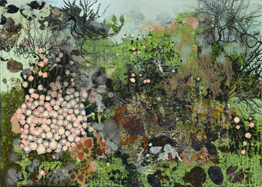 Frances Ryan ARUA, Island Garden I, oil and collage on panel, 50 x 70cm