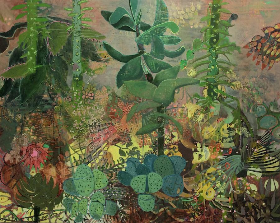Frances Ryan, Botanic Gardens II, oil and collage on canvas, 120 x 150 cm