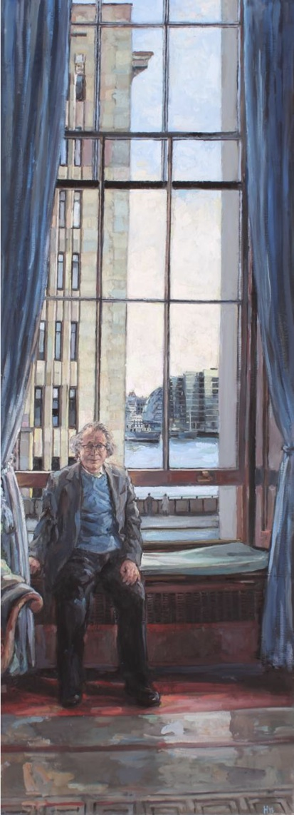Hector McDonnell,Lord Antrim in the Fishmongers Hall with HMS Belfast in the Background, oil on canvas, 91.5 x 51.5 cm