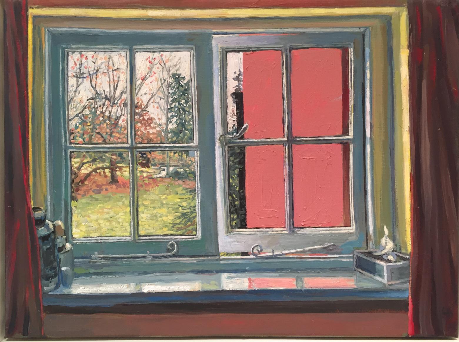 Hector McDonnell RUA, Bathroom Window near Bath, oil on canvas, 38 x 50 cm