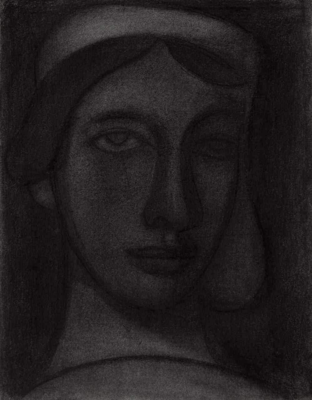 Mark Shields RUA, In the Looking Glass, charcoal, 35 x 27 cm