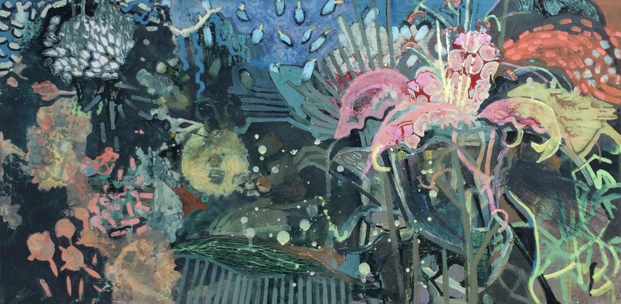 Frances Ryan ARUA, Night Shade I, oil on canvas, 40 x 80 cm