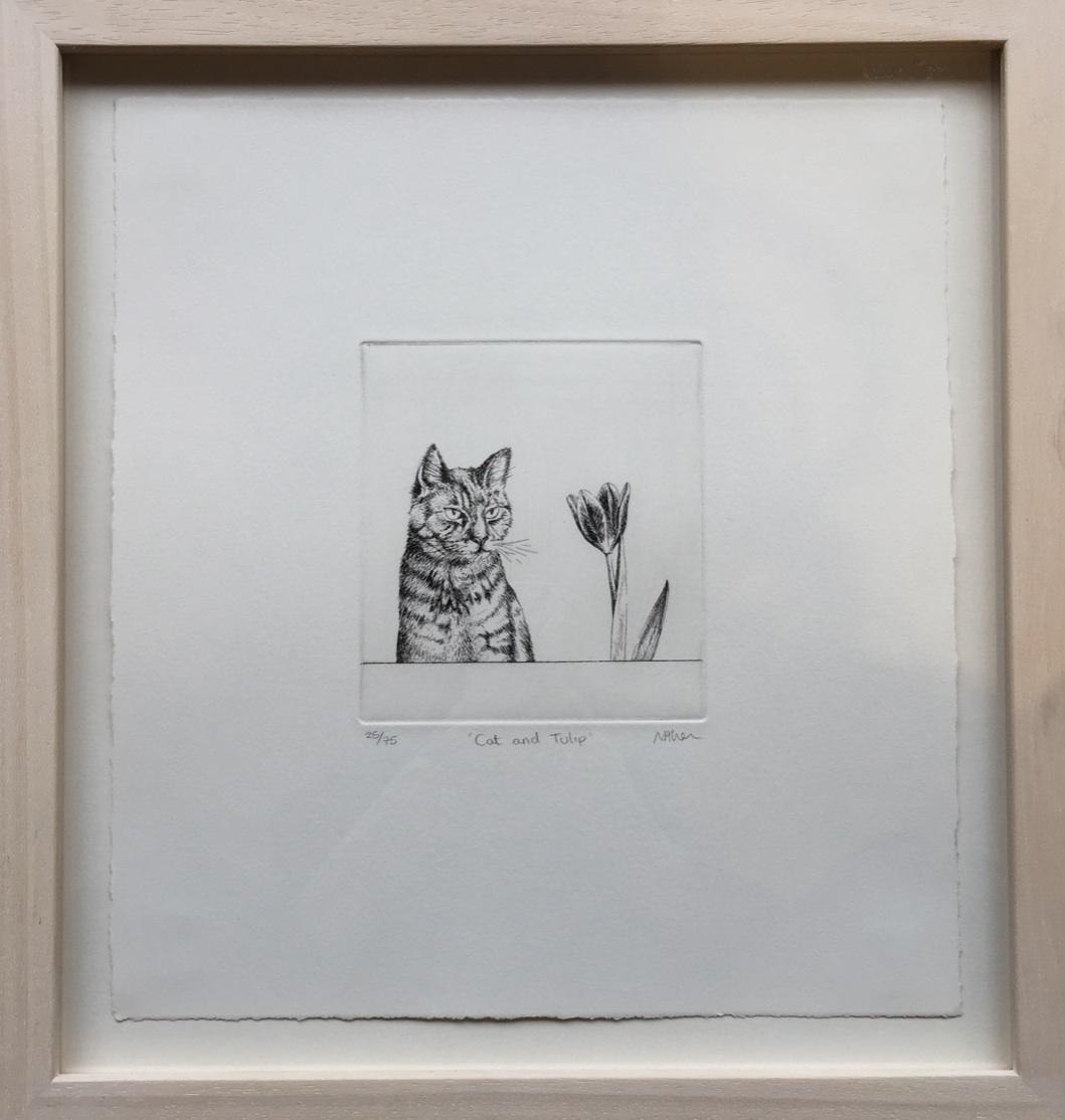 Neisha Allen ARUA, Cat and Tulip, etching, 12.5 x 11.5 cm WITH FRAME