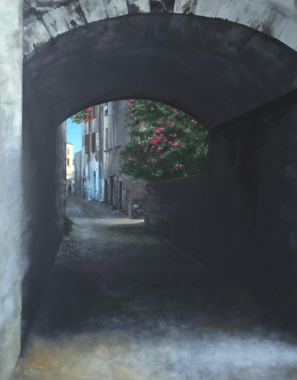 Neisha Allen ARUA, Street, oil on board, 43 x 35cm
