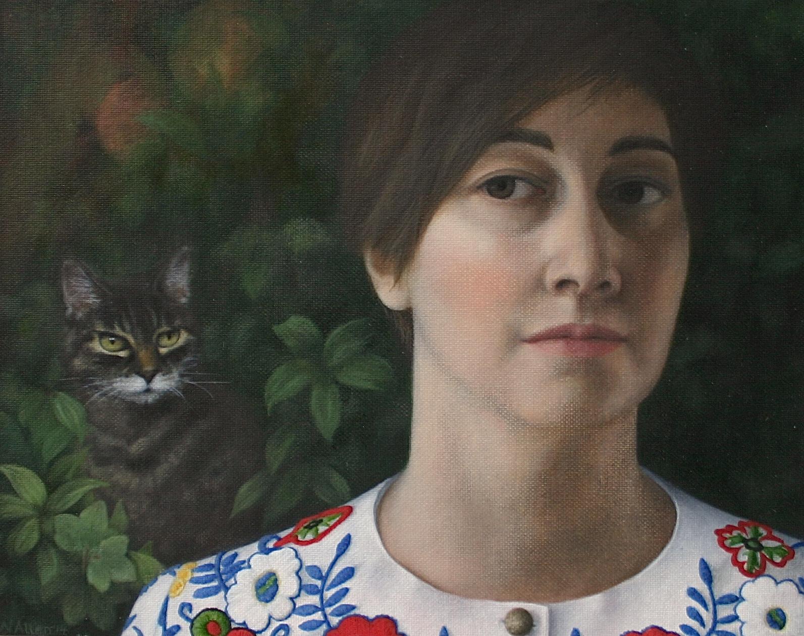 Neisha Allen, ARUA, The Cat, oil on board, 20 x 25 cm