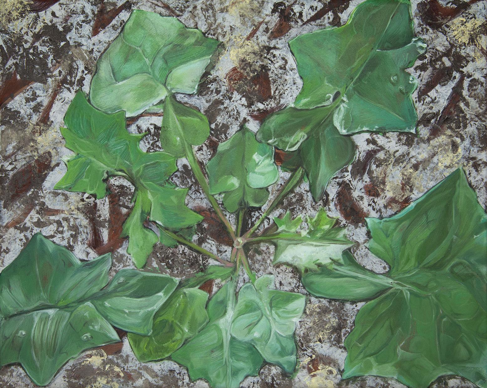 Bennie Reilly, Weed III, Botanic Gardens, Dublin, oil on canvas, 25x30cm