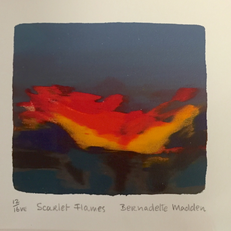 Bernadette Madden, Scarlet Flames, screen print, edition of 16, 10 x 10 cm unframed and 25 x 25 cm framed