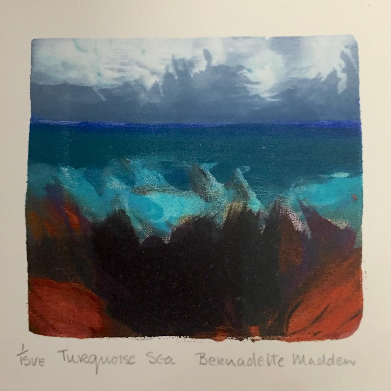 Bernadette Madden, Turquoise Sea, screeprint, edition of 15, 10 x 10 cm unframed, 25 x 25 cm framed