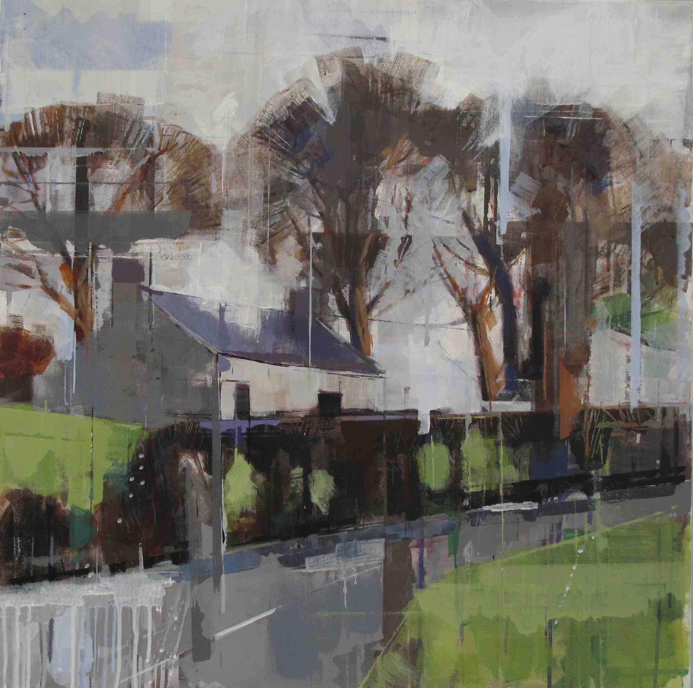 Bridget Flinn, Cottage After Rain, acrylic on paper, 70 x 70 cm
