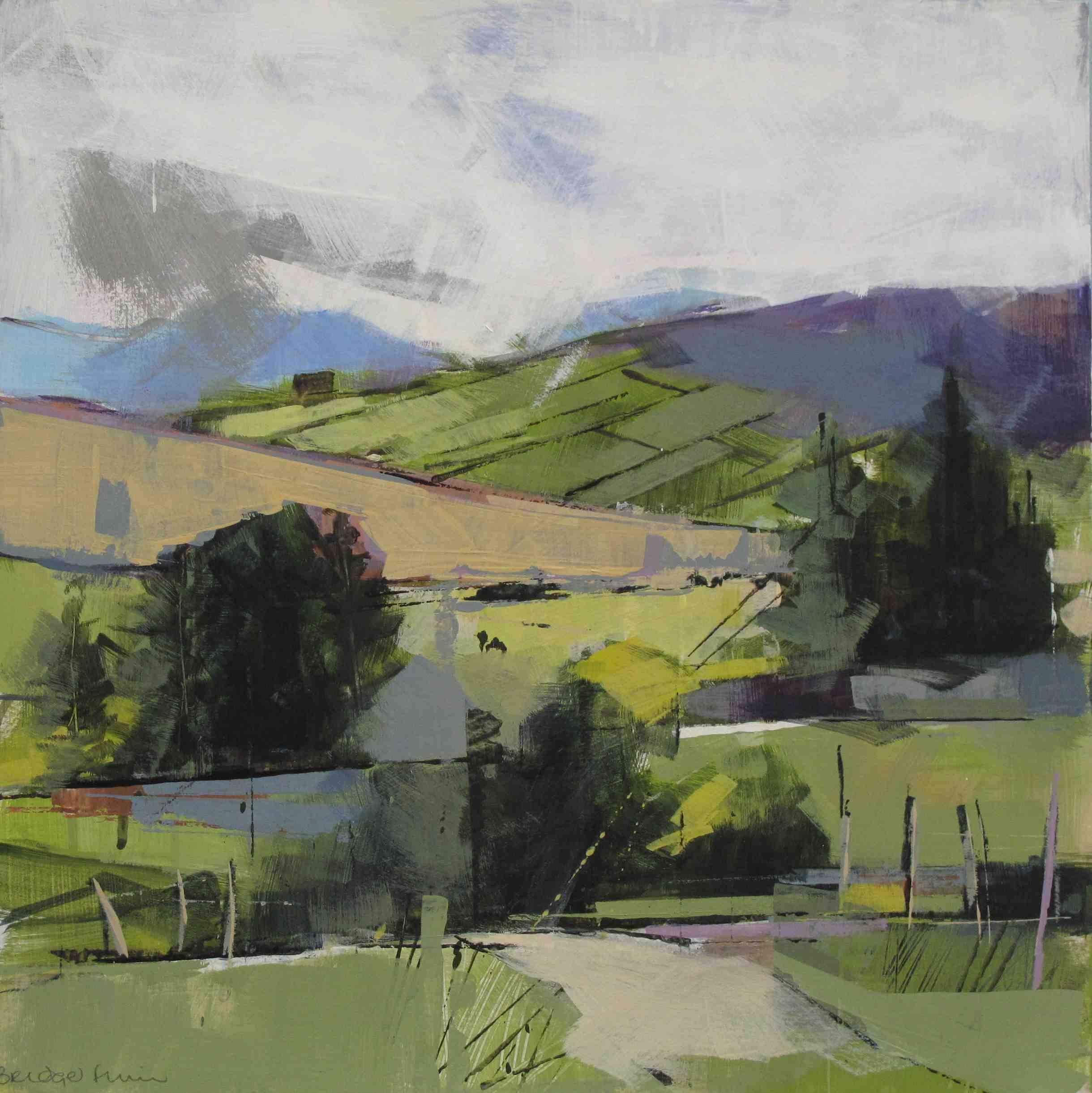 Bridget Flinn, Mayo Fields, acrylic on paper, 38 x 38 cm