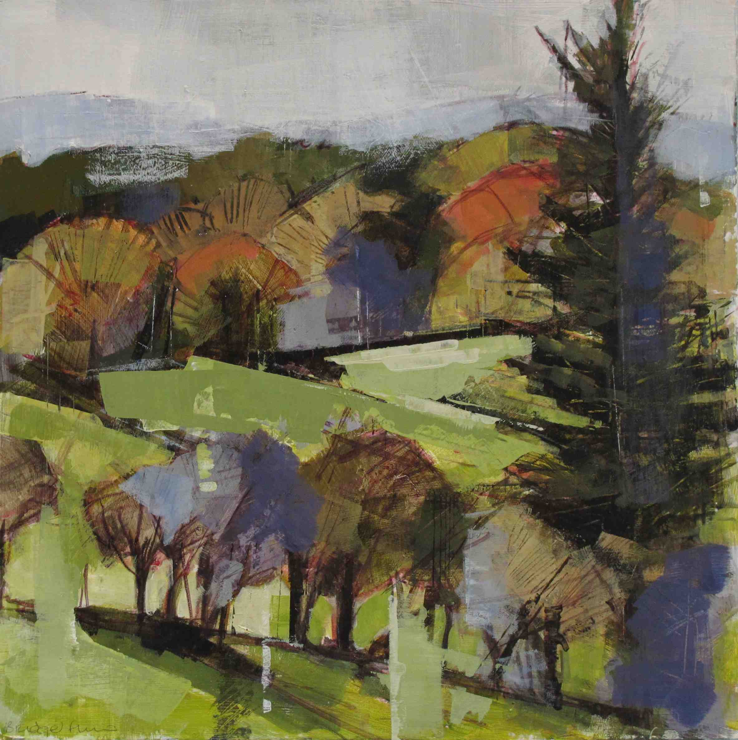 Bridget Flinn, Wicklow Autumn Colour, acrylic on paper, 38 x 38 cm