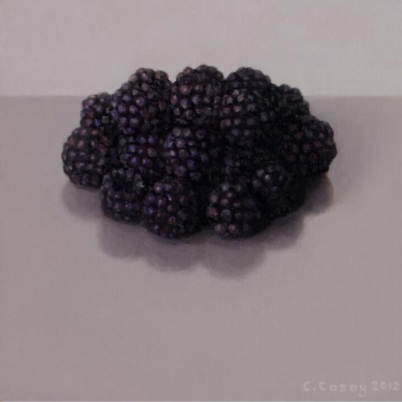 Comhghall Casey, Blackberries, oil on board, 10 x 10 cm