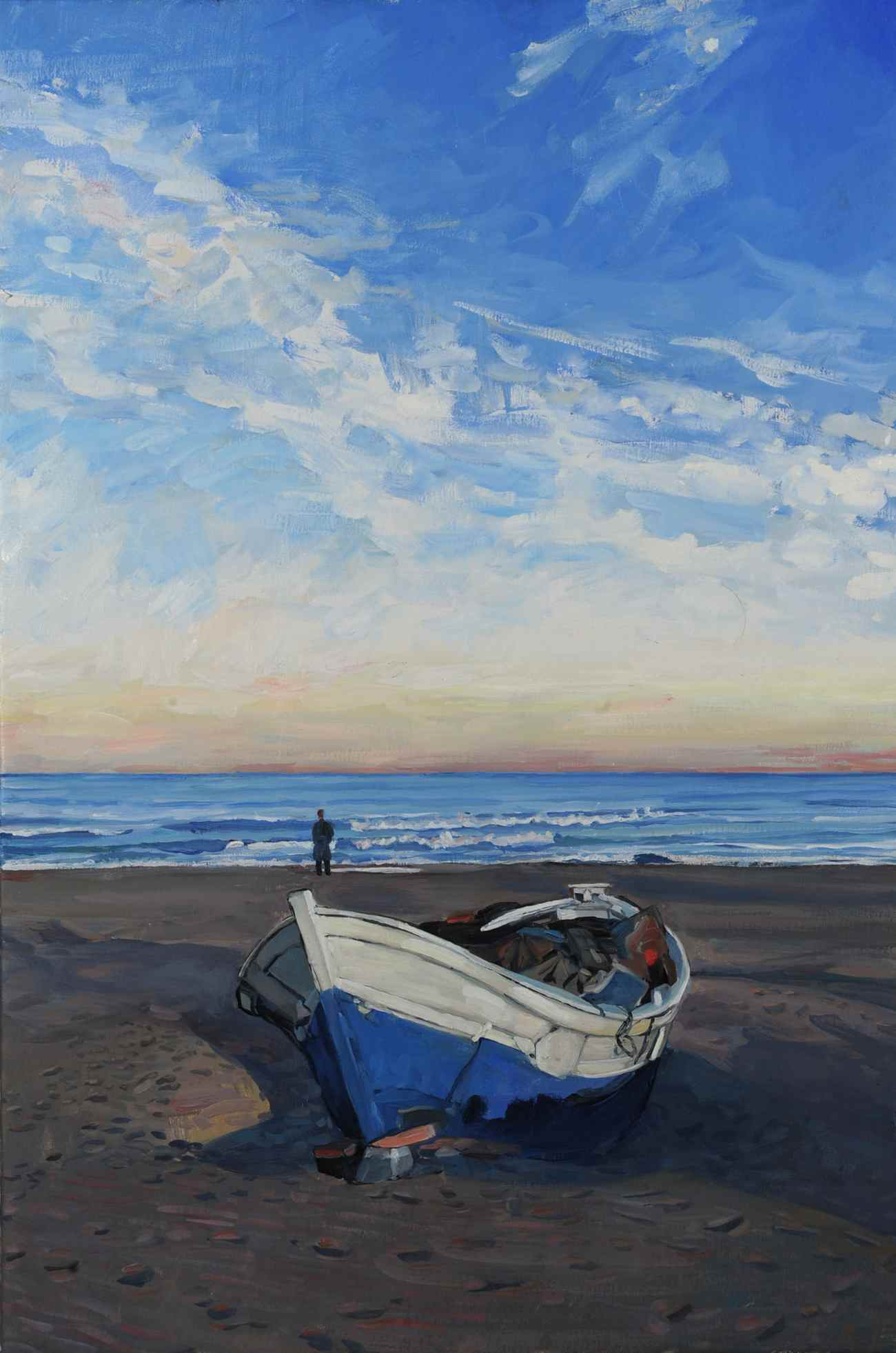Hector McDonnell RUA, Fishing Boat on the Beach, Valencia, oil on canvas, 30 x 20cm