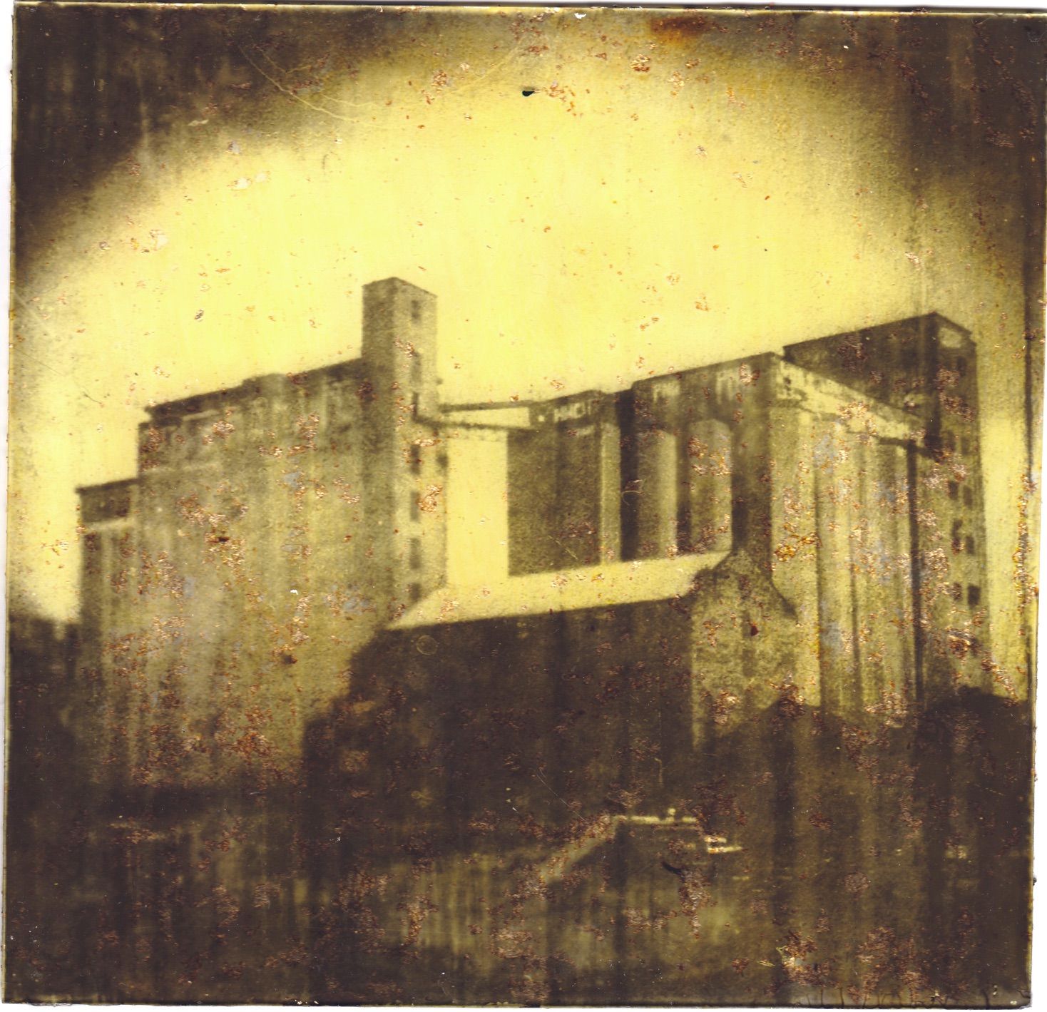 Joby Hickey, Boland Golden Mills, handprinted photgraphic plate on glass, 18 x 18cm