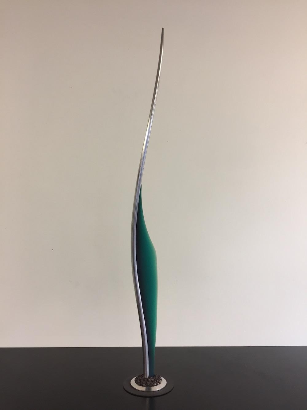 Joe Neeson, Folium 2 (maquette for public sculpture), stainless steel & polyurethane resin, 120 x 15cm
