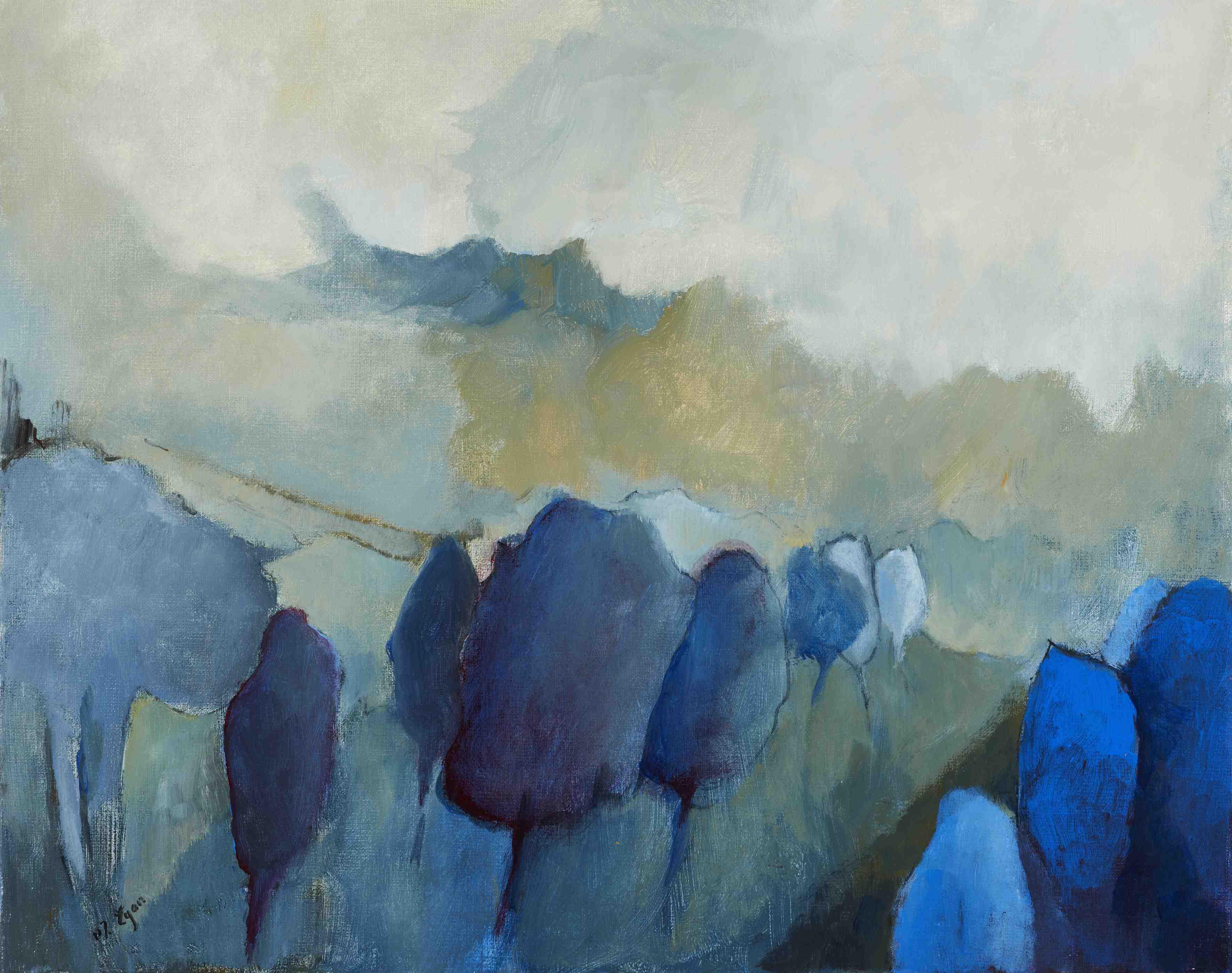 Margaret Egan, Blue Trees, acrylic on canvas, 40 x 50 cm,