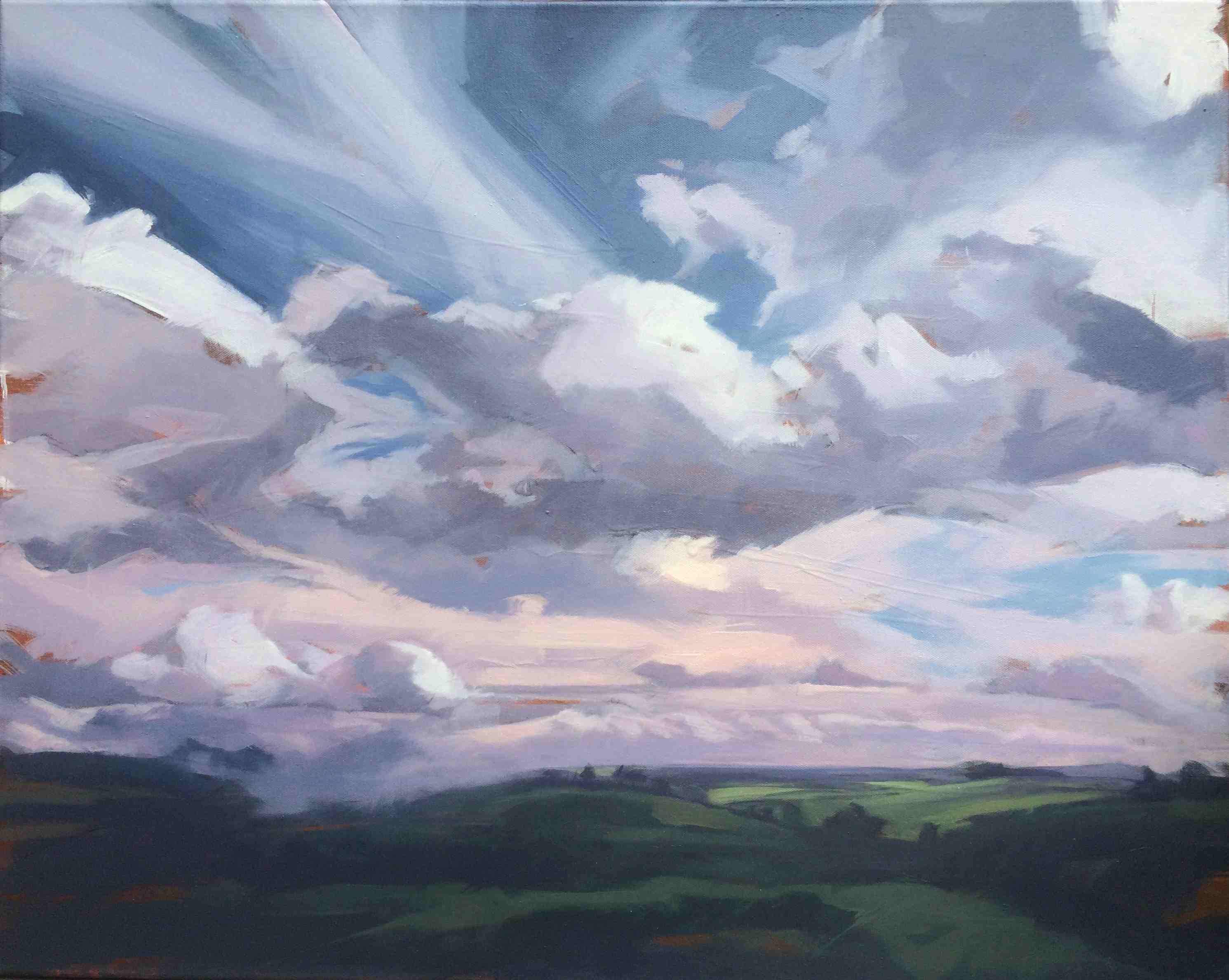 Tracey Quinn, Clouds Fields Summer, oil on canvas, 61 x 76 cm