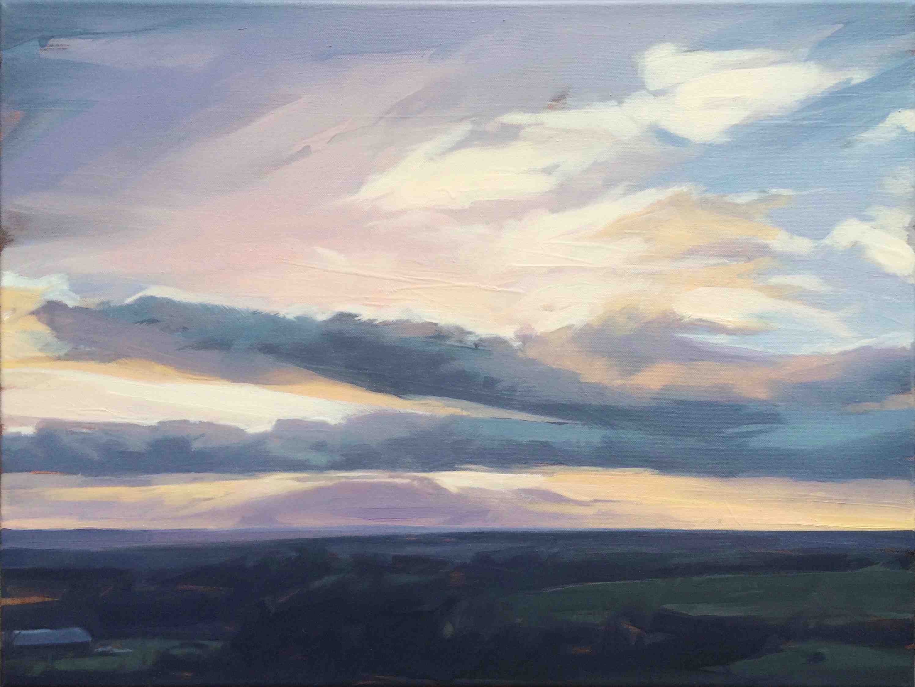 Tracey Quinn, Dusk Sky Summer, oil on canvas, 46 x 60 cm