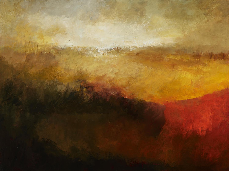 Margaret Egan, Fields of Sunset, acrylic on linen, 76 x 100 cm